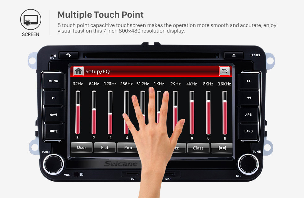 Seicane 7 Inch HD Touchscreen For 2008-2013 VW Volkswagen BORA Polo V 6R Scirocco Passat CC Golf 6 Car Stereo DVD Player GPS Navigation with Radio Bluetooth Phone USB