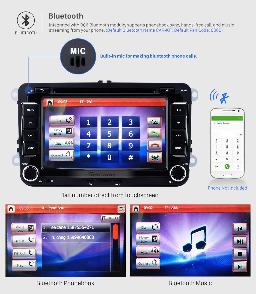 Seicane 7 pulgadas de pantalla táctil HD para 2009-2013 VW Volkswagen BORA Polo V 6R Scirocco Passat CC Golf 6 coche reproductor de DVD estéreo Navegación GPS con radio Teléfono Bluetooth USB