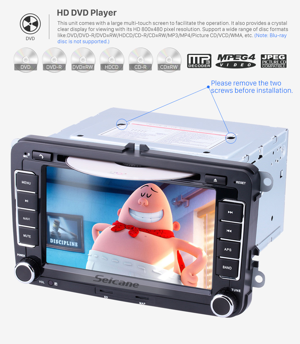 Seicane Aftermarket Radio 7 Inch DVD Player For 2003-2013 Skoda Roomster FABIA Praktik Car Stereo GPS Navigation System Bluetooth Phone MP3 Support SD AUX DVR Steering Wheel Control