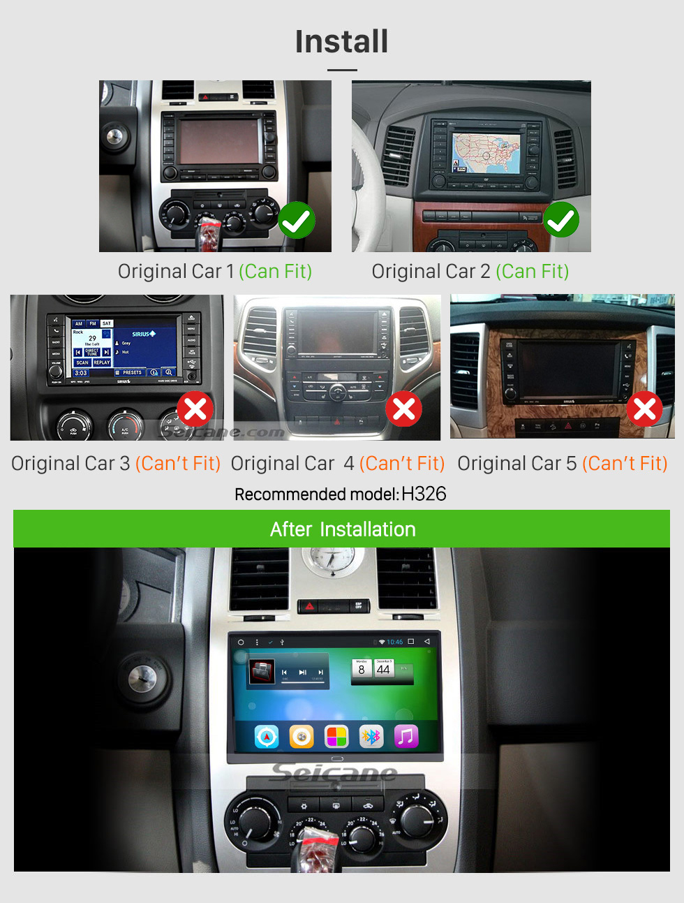 Seicane 9 inch Android 8.1 2004 2005 2006 2007 Jeep Cherokee Commander Compass Patriot Wrangler GPS Navigation System with Bluetooth 1024*600 Touch Screen TV Tuner USB AUX MP3 Steering Wheel Control