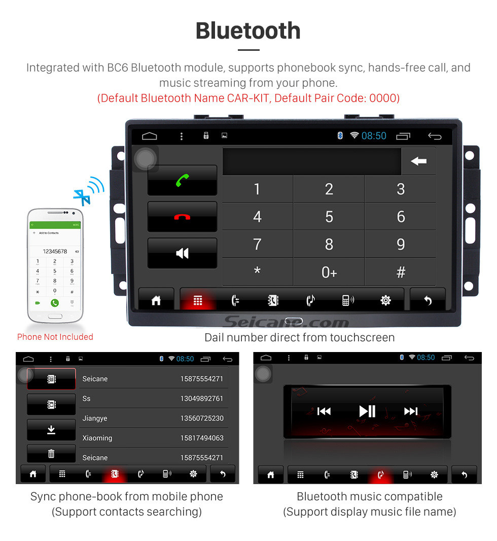 Seicane 9 inch Android 8.1 Autoradio GPS Navigation Bluetooth for 2004-2008 Chrysler 300C Jeep Dodge with DVD AUX Steering Wheel Control USB