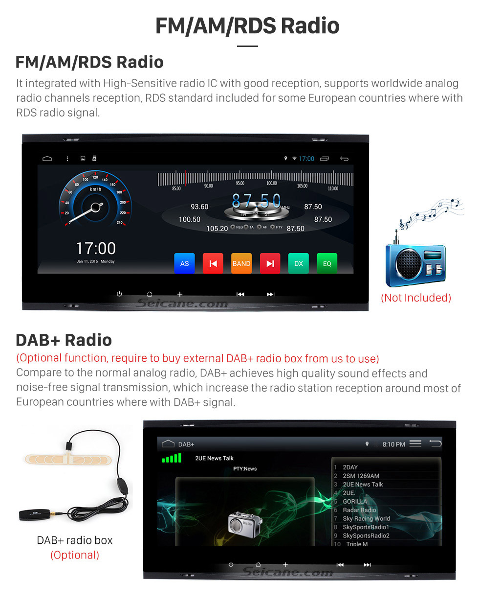 Seicane 8.8 inch Android 7.1 2009 2010 Volksworgen T5 Multivan GPS Navigation System with Touch Screen 3G WiFi Capacitive Rear camera AUX Steering Wheel Control USB Bluetooth 1080P TPMS DVR OBDII