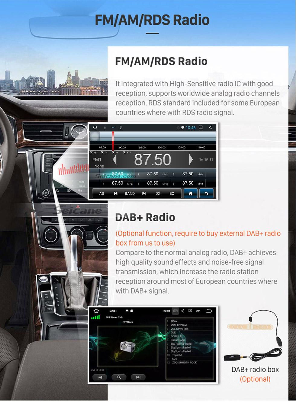 Seicane Reposição Android 7.1 Ecrã Tátil sistema de navegação GPS para 2015 Mitsubishi Universal Suporta Bluetooth Rádio TPMS DVR OBD II Câmera traseira AUX Monitor Control encosto de cabeça USB SD HD 1080P Vídeo 3G WiFi