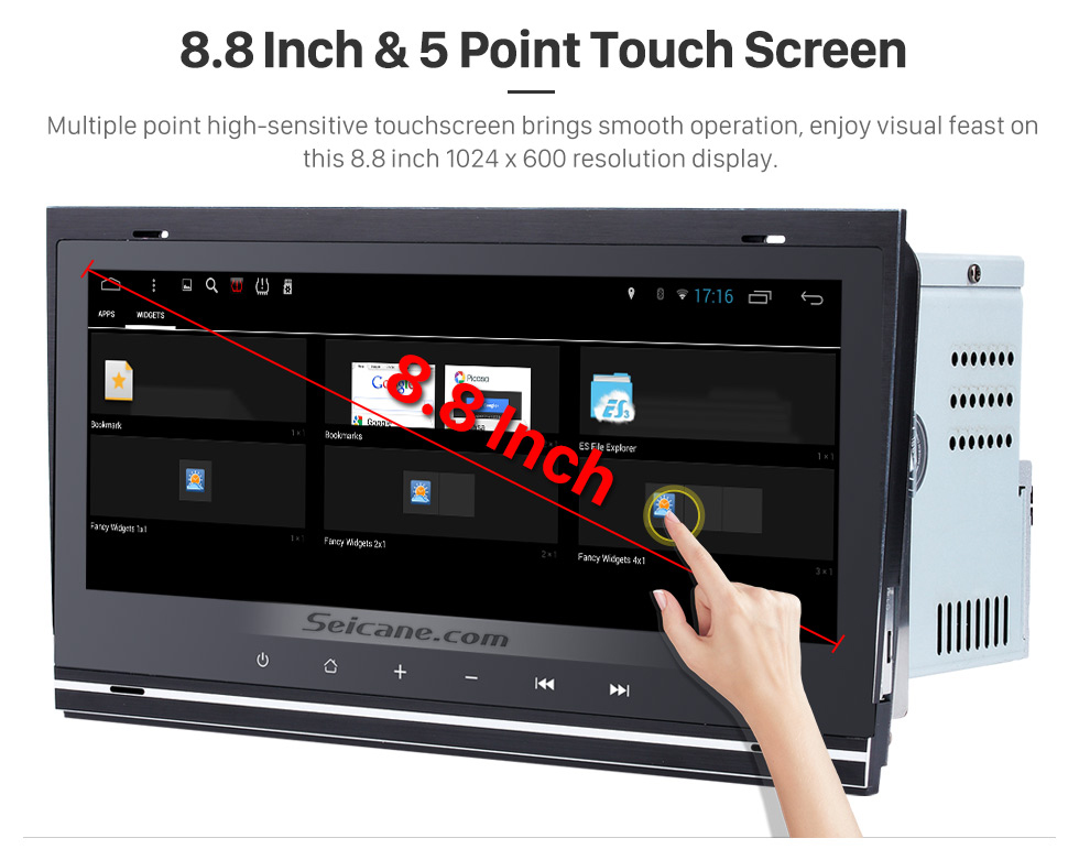 Seicane 8.8 Inch 1280*480 Android 7.1 TouchScreen Radio for 2002-2008 Audi Allroad A4 S4 RS4 with bluetooth GPS Navigation system Bluetooth TPMS DVR OBDII WiFi Steering Wheel Control