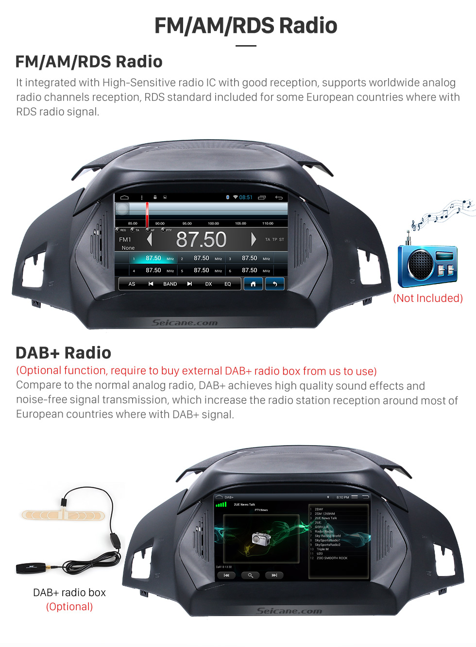 Seicane 8 inch Android 8.1 2011-2017 Ford KUGA C-Max Radio DVD GPS Navigation with Touch Screen Bluetooth 3G Wifi TPMS DVR OBD2 Rear Camera AUX Steering Wheel Control 1080P Mirror Link