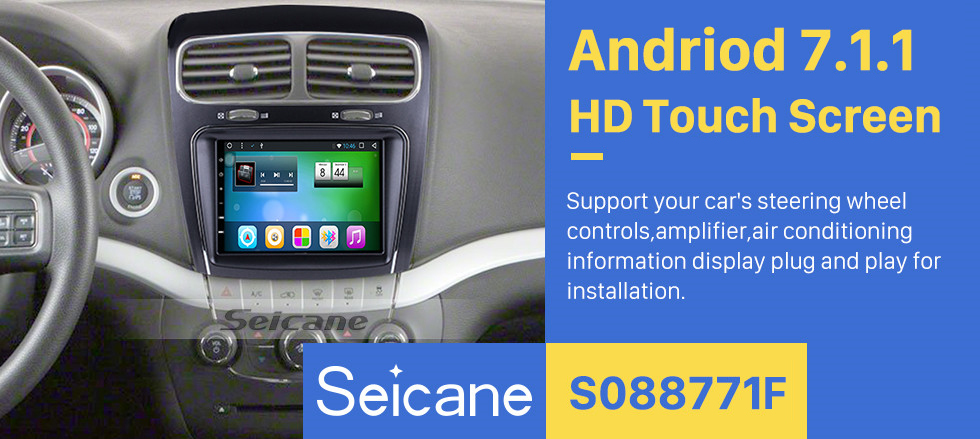 Seicane 8.4 inch HD Touchscreen Android 7.1 2011-2014 Fiat Freemont Dodge Journey GPS Navigation Car Stereo Audio System with Bluetooth Radio TV 3G Backup Camera