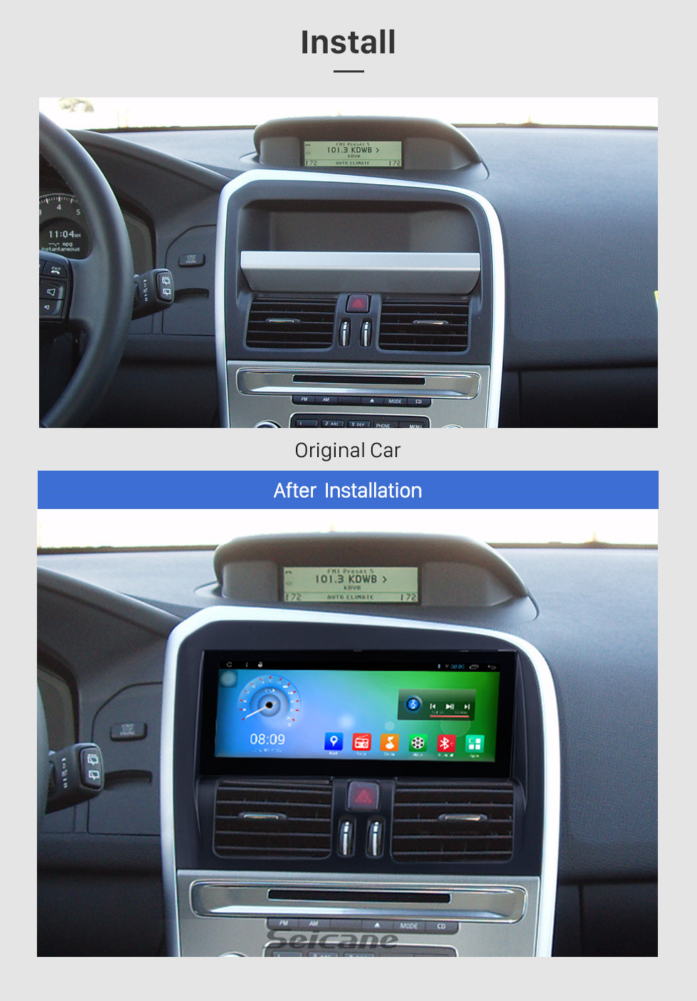 Seicane Android 7.1 2009-2017 Volvo XC60 CD Radio GPS Navigation Stereo Bluetooth Music DVD Player 3G WiFi TV Tuner DVR Steering Wheel Control USB DVR Backup Camera