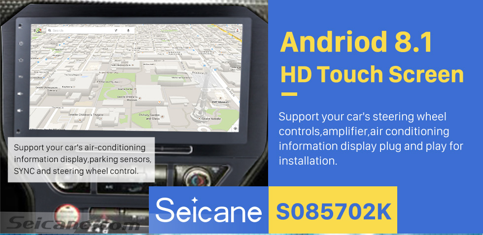 Seicane 10.2 Inch Android 8.1 Radio DVD Player For 2015 2016 Ford Mustang with 3G WiFi Bluetooth GPS Navigation system Capacitive Touch Screen TPMS DVR OBD II Rear camera AUX Headrest Monitor Control USB SD Video