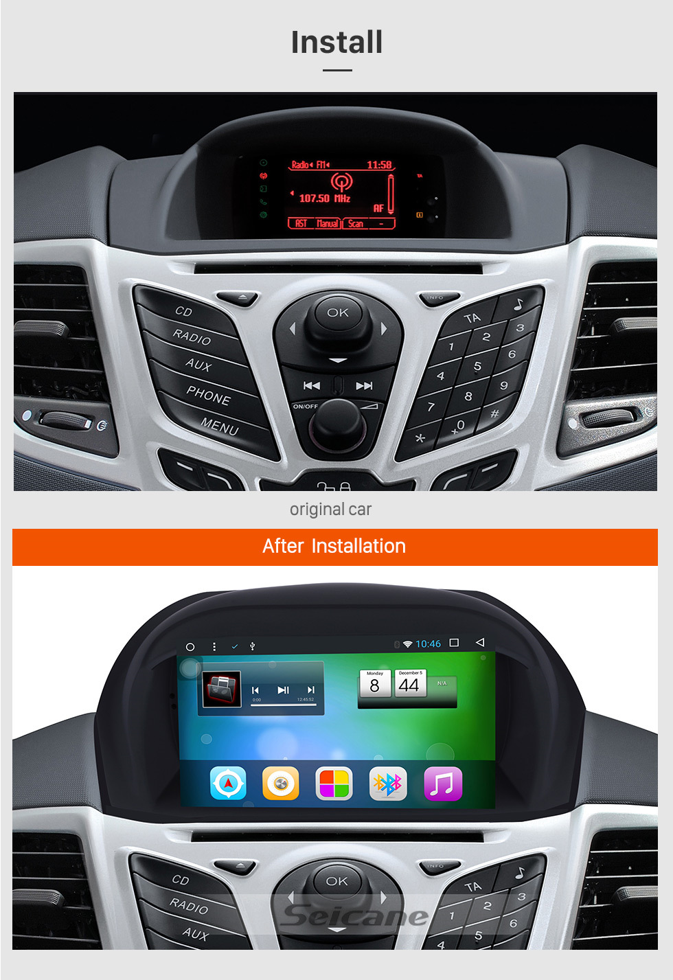 Seicane Aftermarket Radio Android 8.1 7 Inch HD Touchscreen DVD Player For 2009 2010 Ford Fiester Car Stereo GPS Navigation System Bluetooth Phone WIFI Support 1080P Video OBDII DVR Steering Wheel Control Mirror Link