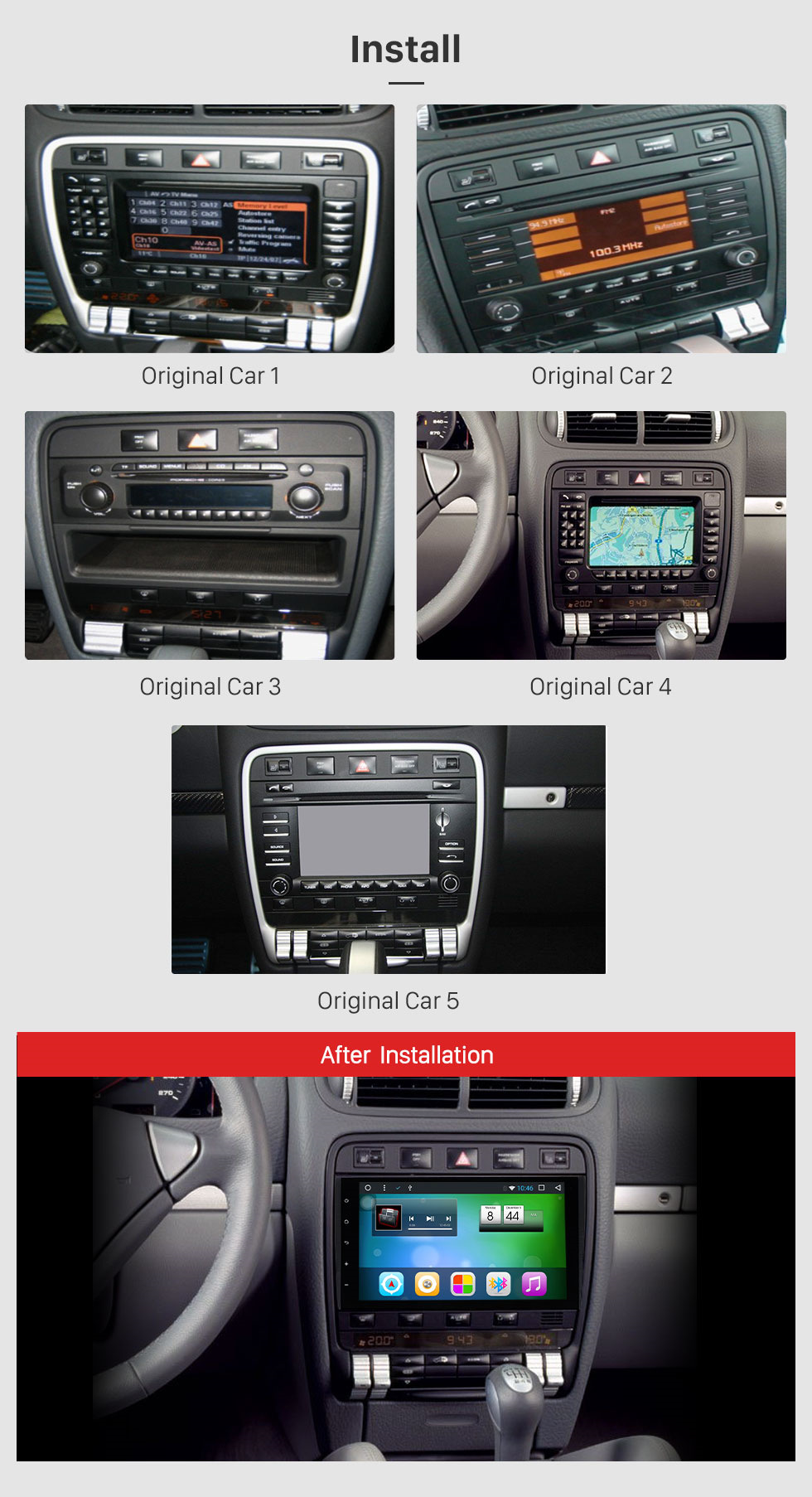 Seicane 2003-2010 PORSCHE Cayenne Android 8.1 GPS Navigation Radio Mirror link Touch Screen OBD2 Bluetooth DVR Backup camera TV USB SD Steering Wheel control WIFI