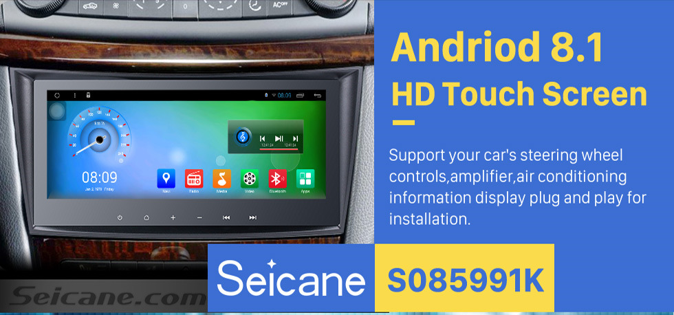 Seicane 8.8 Inch Touch Screen 2001-2008 Mercedes Benz G Class W463 G550 G500 G400 G320 Android 8.1 Capacitive  Radio GPS Navigation system with Bluetooth TPMS DVR OBD II Rear camera AUX USB SD 3G WiFi Steering Wheel Control Video 1080P