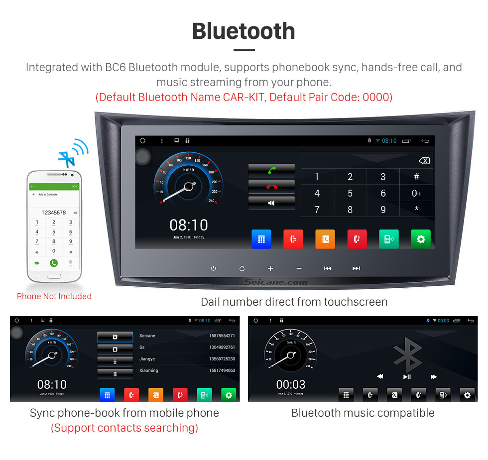 Seicane 8.8 Inch 2002-2008 Mercedes-Benz E Class W211 E200 E220 E240 E270 E280 Android 8.1 Capacitive Touch Screen Radio GPS Navigation system with Bluetooth TPMS DVR OBD II Rear camera AUX USB SD 3G WiFi Steering Wheel Control Video