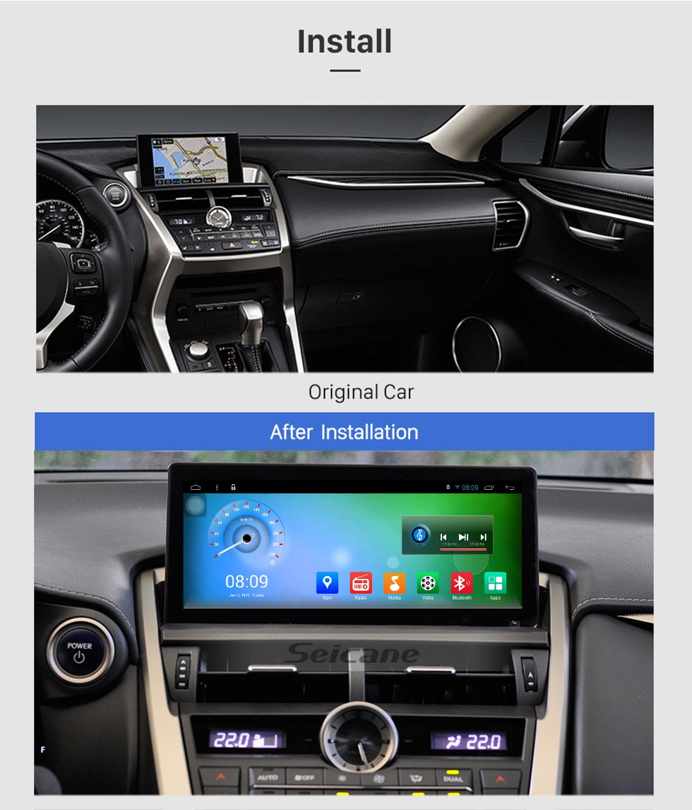 Seicane 2015 2016 2017 LEXUS NX300h/200 Android 8.1 10.25 inch Radio GPS navigation system Multimedia Player with Bluetooth HD touch screen  Mirror link support OBD2 DVR Rearview camera TV 1080P Video 3G WIFI Steering Wheel Control USB DVR