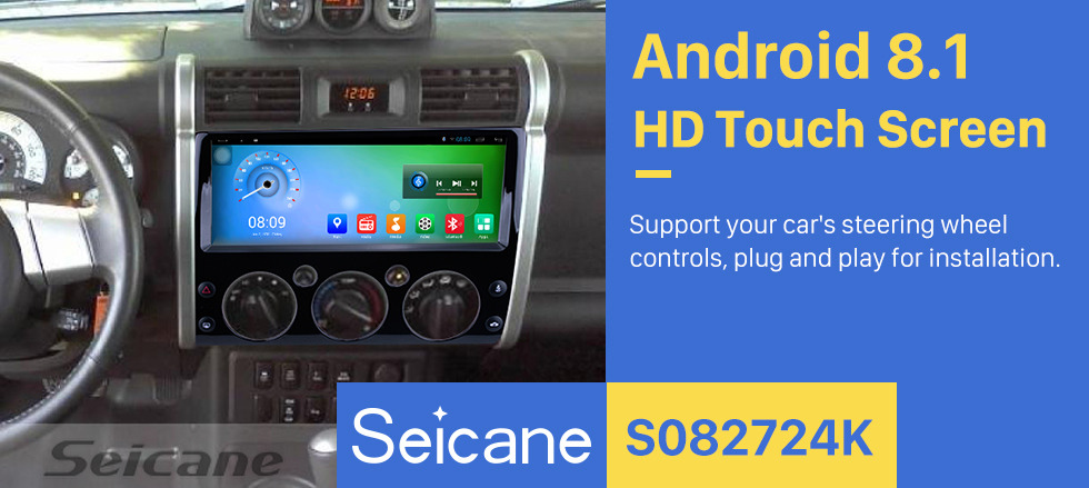 Seicane 12.3 Inch Android 8.1 Radio For 2007-2017 Toyota CRUISER FJ with 3G WiFi Bluetooth GPS Navigation system Capacitive Touch Screen Built In TPMS DVR OBD II Rear camera AUX Headrest Monitor Control USB Video