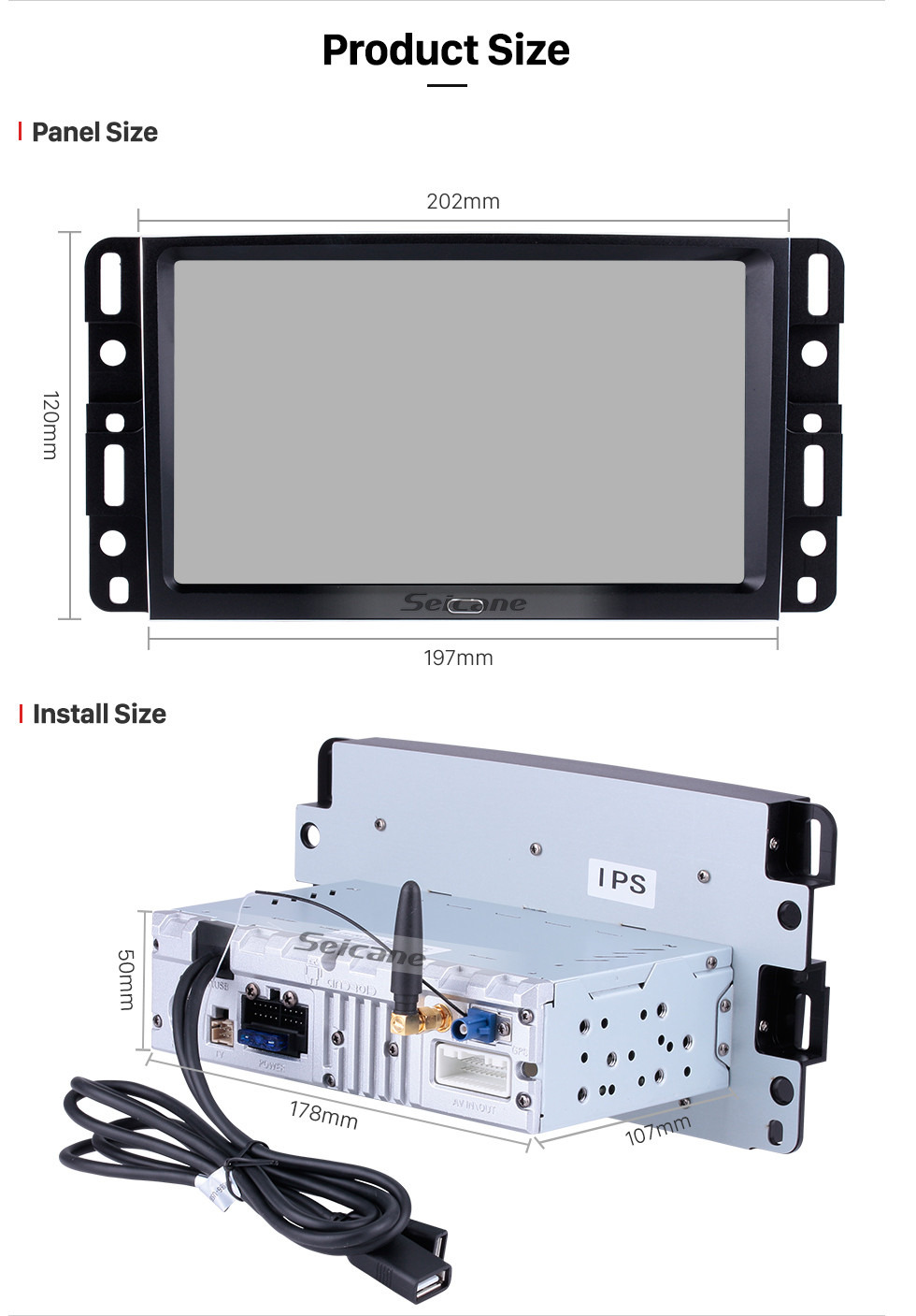 Seicane Android 8.1 2007 2008 2009 2010 2011 2012 2013 Chevrolet Chevy Tahoe 9 Inch HD Touchscreen Car Stereo Radio Head Unit GPS Navigation Bluetooth Phone MP3 Steering Wheel Control WIFI Backup Camera
