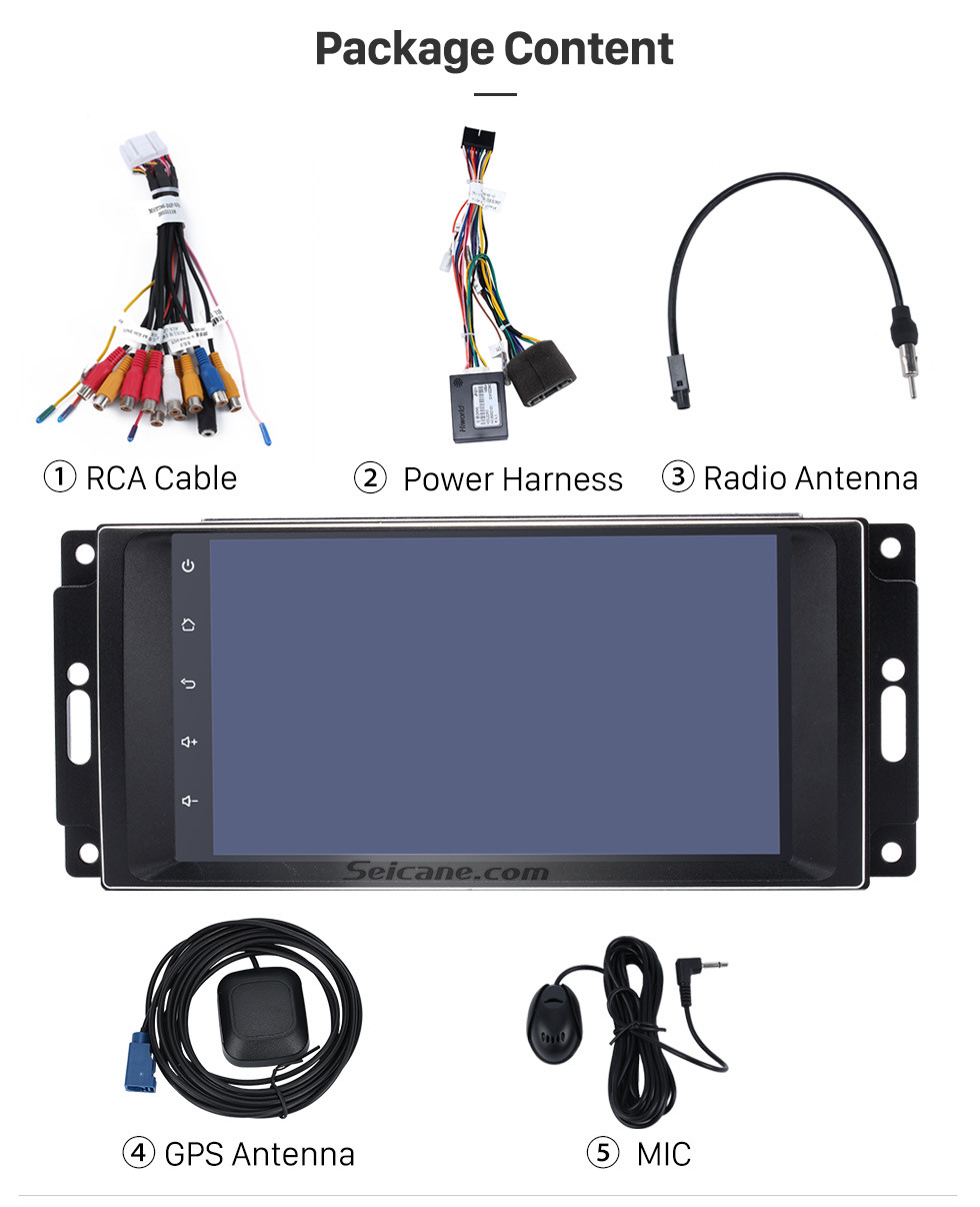 Seicane Android 8.1 touchscreen Radio for 2007 2008 2009 2010 Jeep Wrangler Unlimited with GPS navigation system DVD player Bluetooth music DVR Rearview camera 1080P Video
