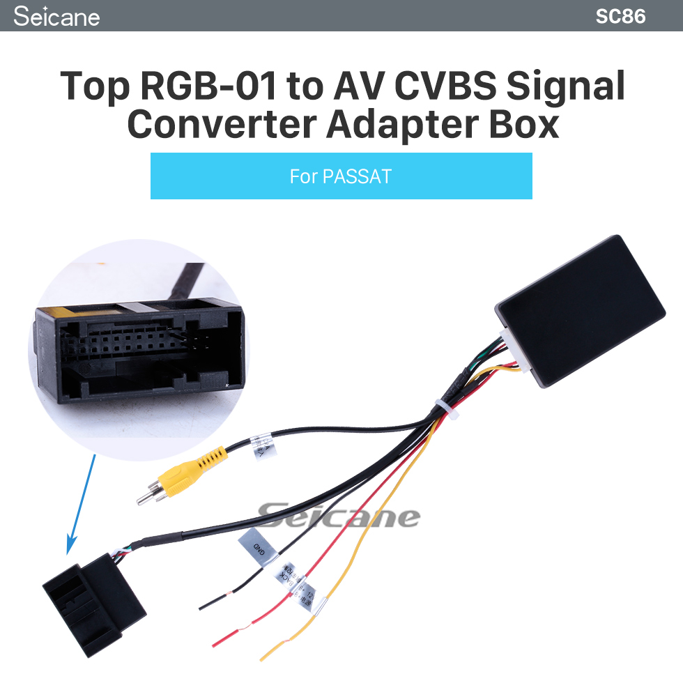 Seicane Top RGB to AV CVBS Signal Converter Adapter Box for OEM Factory Rearview Backup Camera for VW Volkswagen Passat Magotan CCTiguan