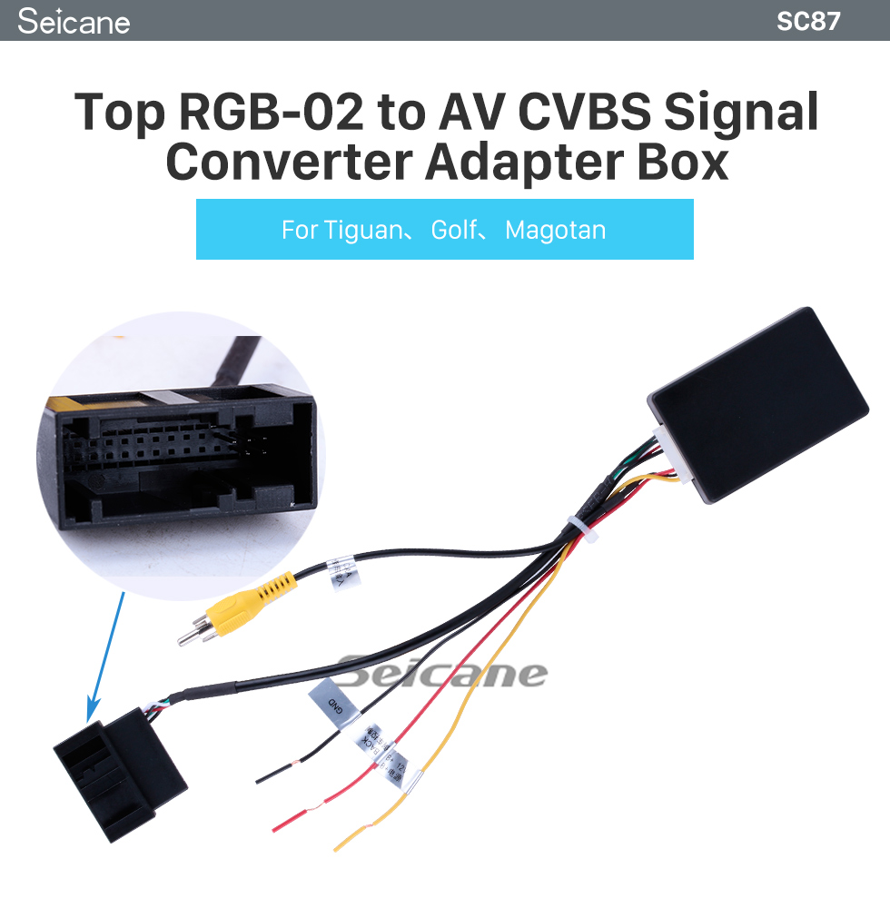 Seicane Seicane Top RGB-02 to AV CVBS Signal Converter Adapter Box for VW Volkswagen Tiguan Golf Magotan Auto Radio