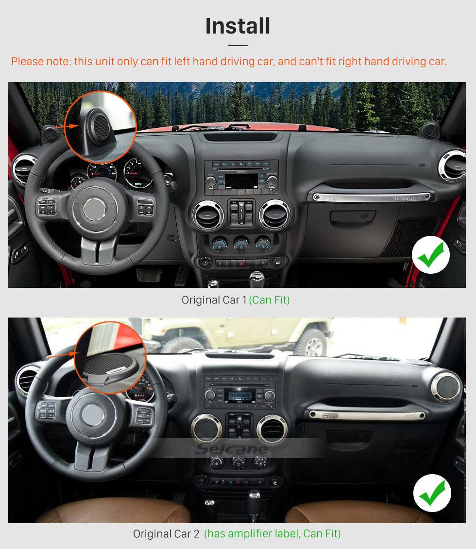 Seicane 10,1 Zoll 1024 * 600 Android 8.0 2011 2012 2013 2014 2015 2016 2017 JEEP Wrangler Bluetooth GPS-Radio Autoradio mit Spiegel Link Wifi Lenkradsteuerung