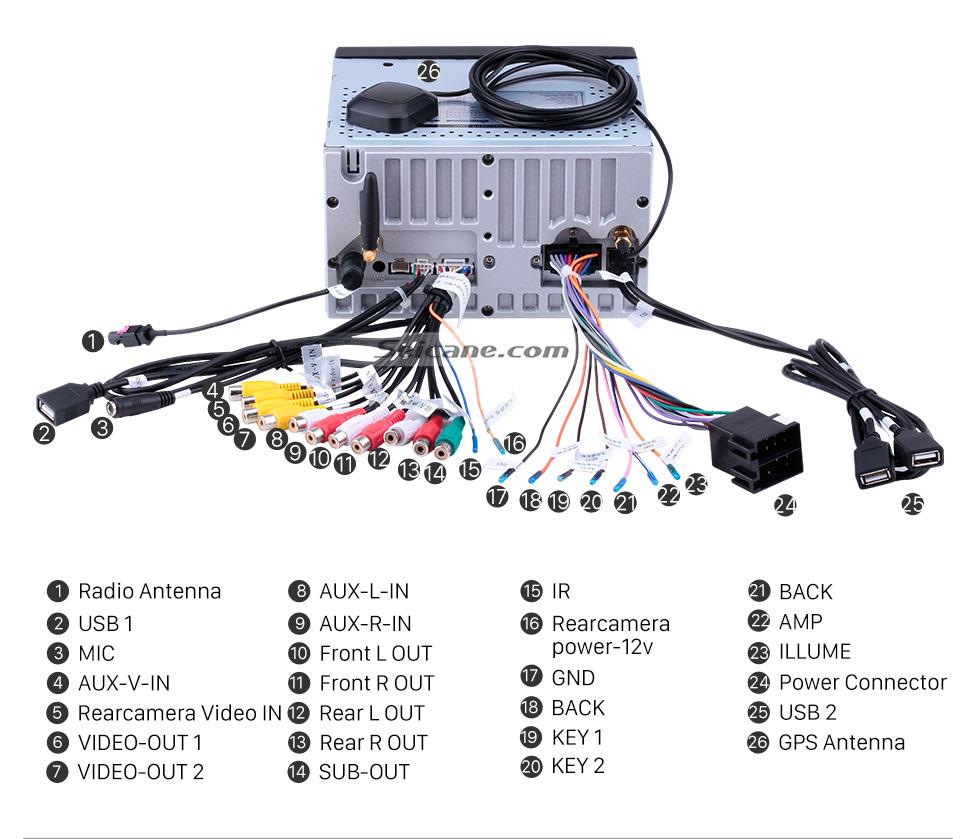 Seicane 2 Din Universal Android 8.0 Système de navigation GPS Radio voiture stéréo avec lecteur WiFi Lien miroir Lecteur DVD Bluetooth 1080P vidéo USB