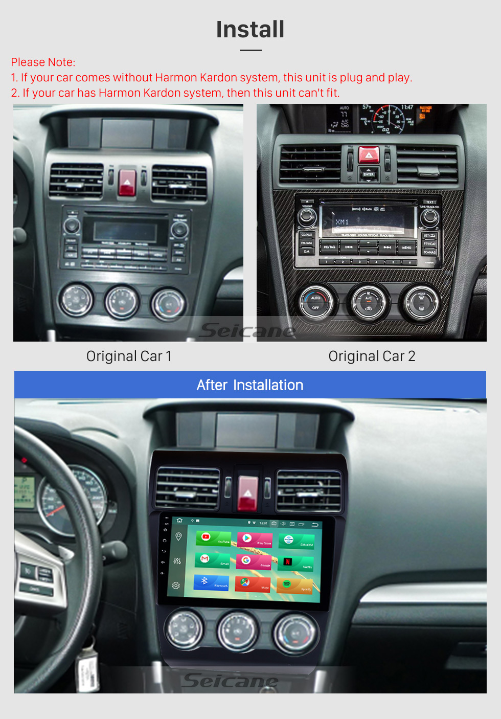 Seicane 9 inch HD Android 8.0 Radio Capacitive Touch Screen for 2014 2015 2016 Subaru Forester Support 3G WiFi Bluetooth GPS Navigation system TPMS DAB DVR OBD II AUX Headrest Monitor Control Video Rear camera USB SD