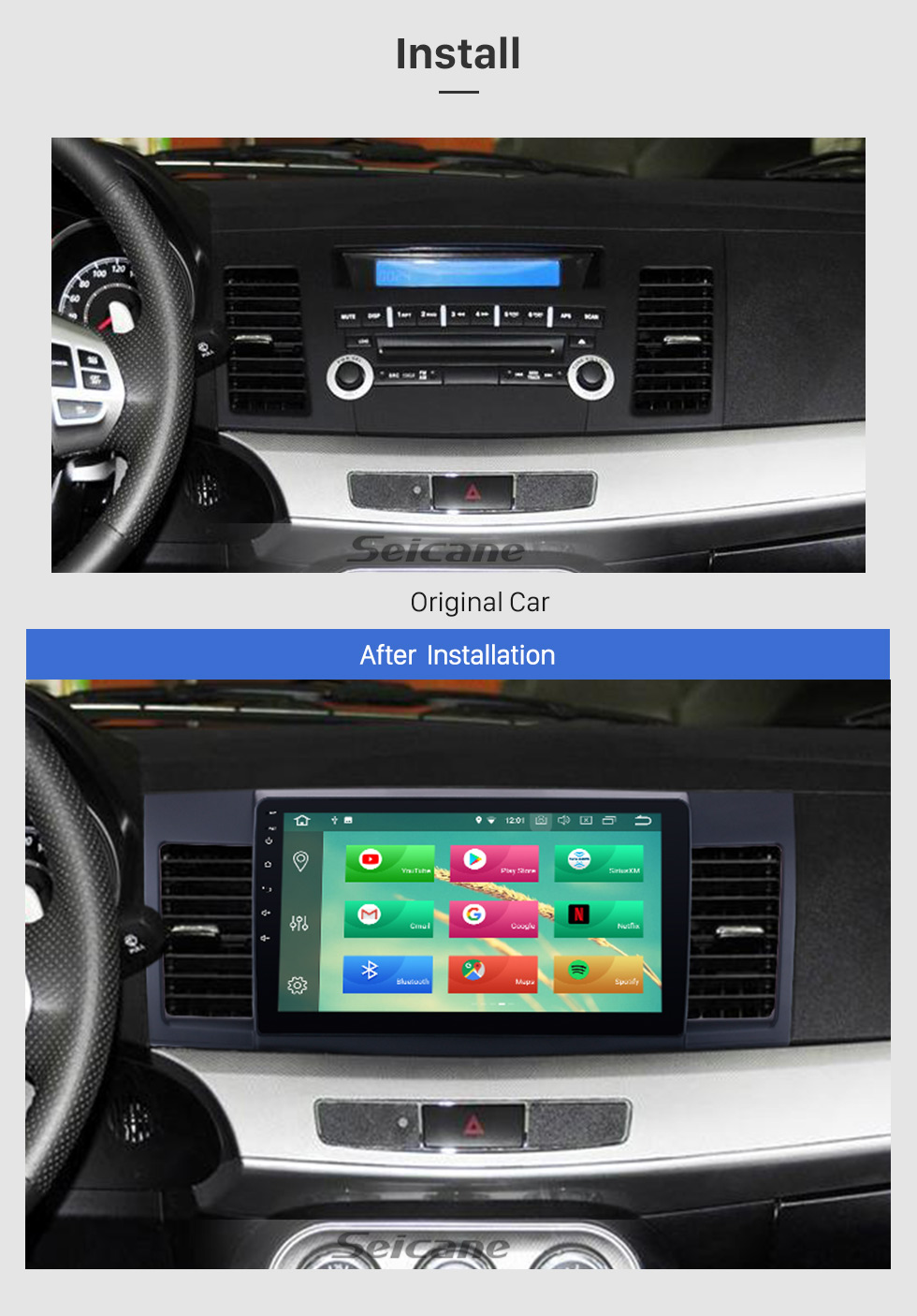 Seicane 2007-2015 Mitsubishi LANCER Android 8.0 Radio DVD player GPS navigation system Bluetooth HD 1024*600 touch screen Mirror link OBD2 DVR Rearview camera TV 1080P Video 3G WIFI Steering Wheel Control USB