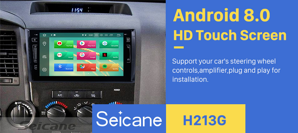 Seicane HD Touch Screen Android 8.0 for 2006 2007 2008-2013 Toyota Tundra Radio GPS Navigation 9 inch with Bluetooth WiFi Carplay support Steering Wheel Control 3G Mirror Link