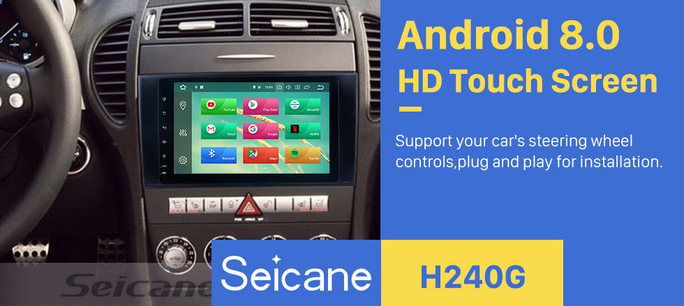 Seicane Android 8.0 8 inch for 2000 2001 2002-2011 Mercedes SLK Class R171 SLK200 SLK280 SLK300 SLK350 SLK55 Radio GPS Navigation with HD Touchscreen Bluetooth USB Carplay support 1080P Video