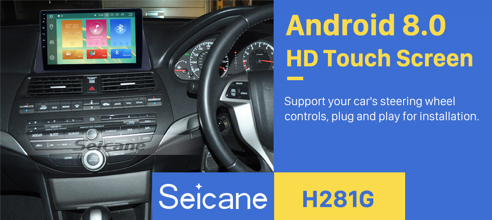 Seicane 2008-2013 Honda Accord 8 Android 8.0 10.1 inch HD Touchscreen GPS Navigation Auto Radio Bluetooth Phone USB Carplay SWC WIFI Music support DVR TPMS OBD2