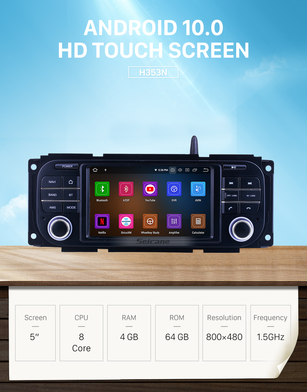 Seicane For 2002-2005 2006 2007 Dodge Radio Android 10.0 GPS Navigation System with Bluetooth HD Touchscreen Carplay support Digital TV