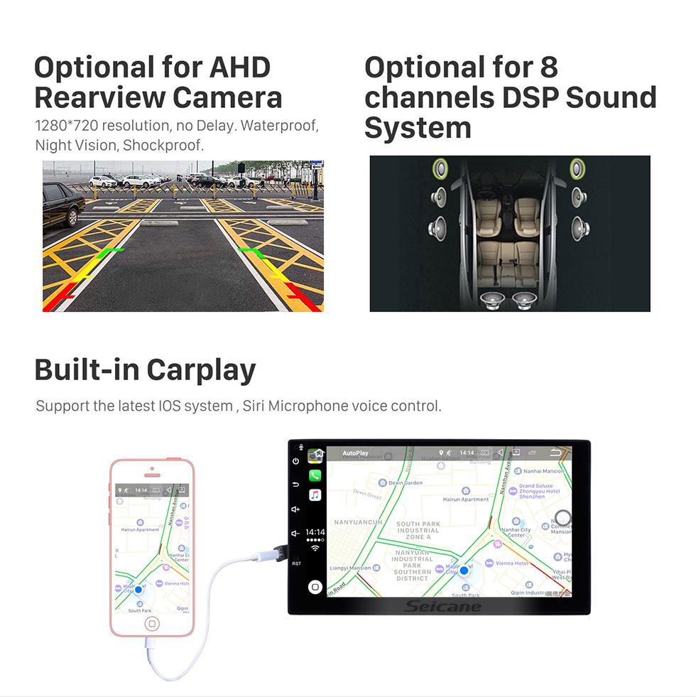 Seicane 2006 2007 Mitsubishi Raider sistema de navegación GPS Reproductor DVD Radio Pantalla táctil TPMS DVR OBD Vínculo espejo Cámara de vista trasera 3G WiFi TV Vídeo Bluetooth