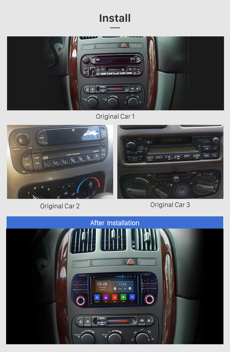 Seicane OEM Android 10.0 for 2004-2008 Chrysler 300C Radio with Bluetooth HD Touchscreen GPS Navigation System Carplay support DVR