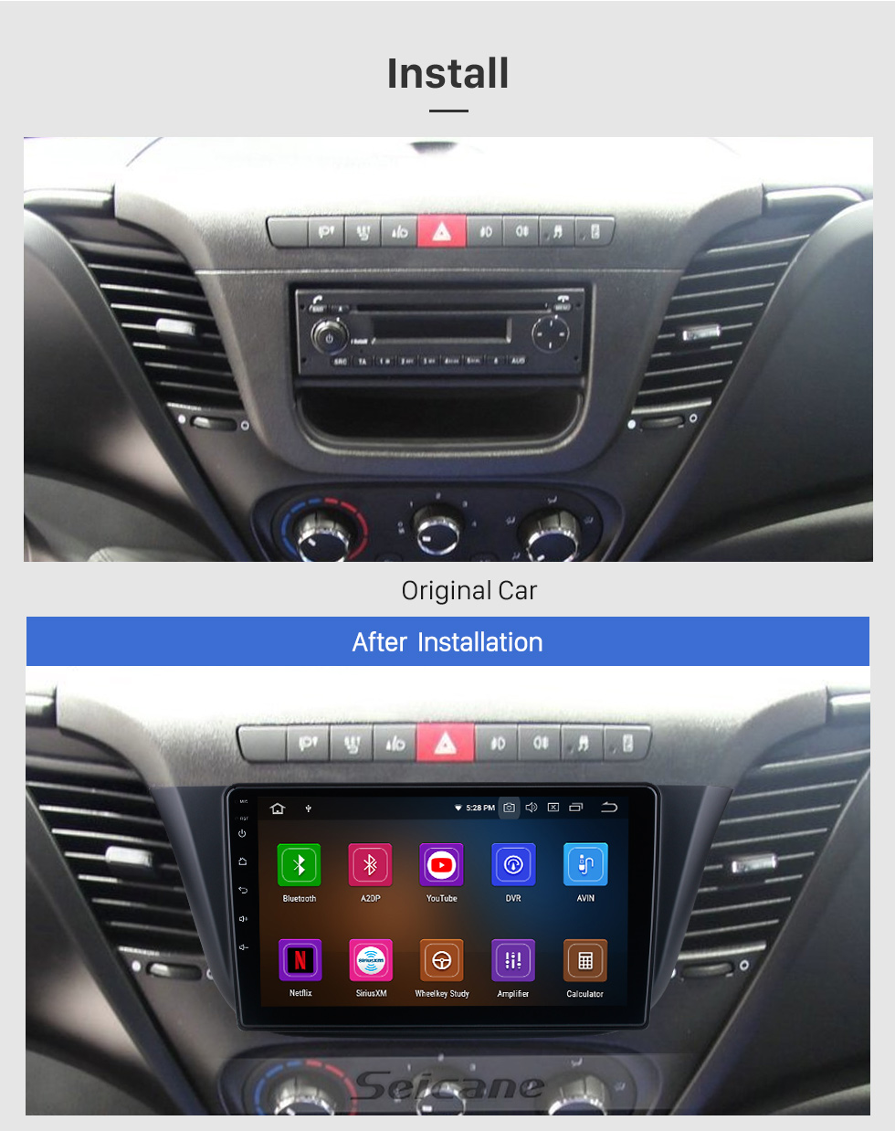 Seicane 9 inch For 2014 Iveco DAILY Radio Android 10.0 GPS Navigation System with USB HD Touchscreen Bluetooth Carplay support OBD2 DSP
