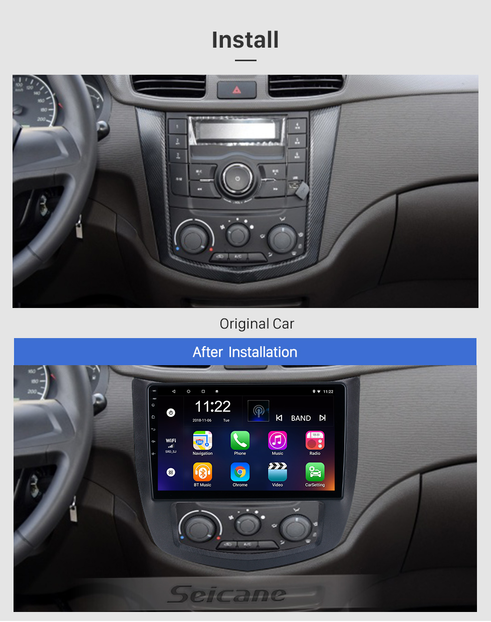 Seicane 10.1 inch Android 10.0 for 2013-2017 SGMW Hongguang Radio GPS Navigation System With HD Touchscreen Bluetooth support Carplay OBD2
