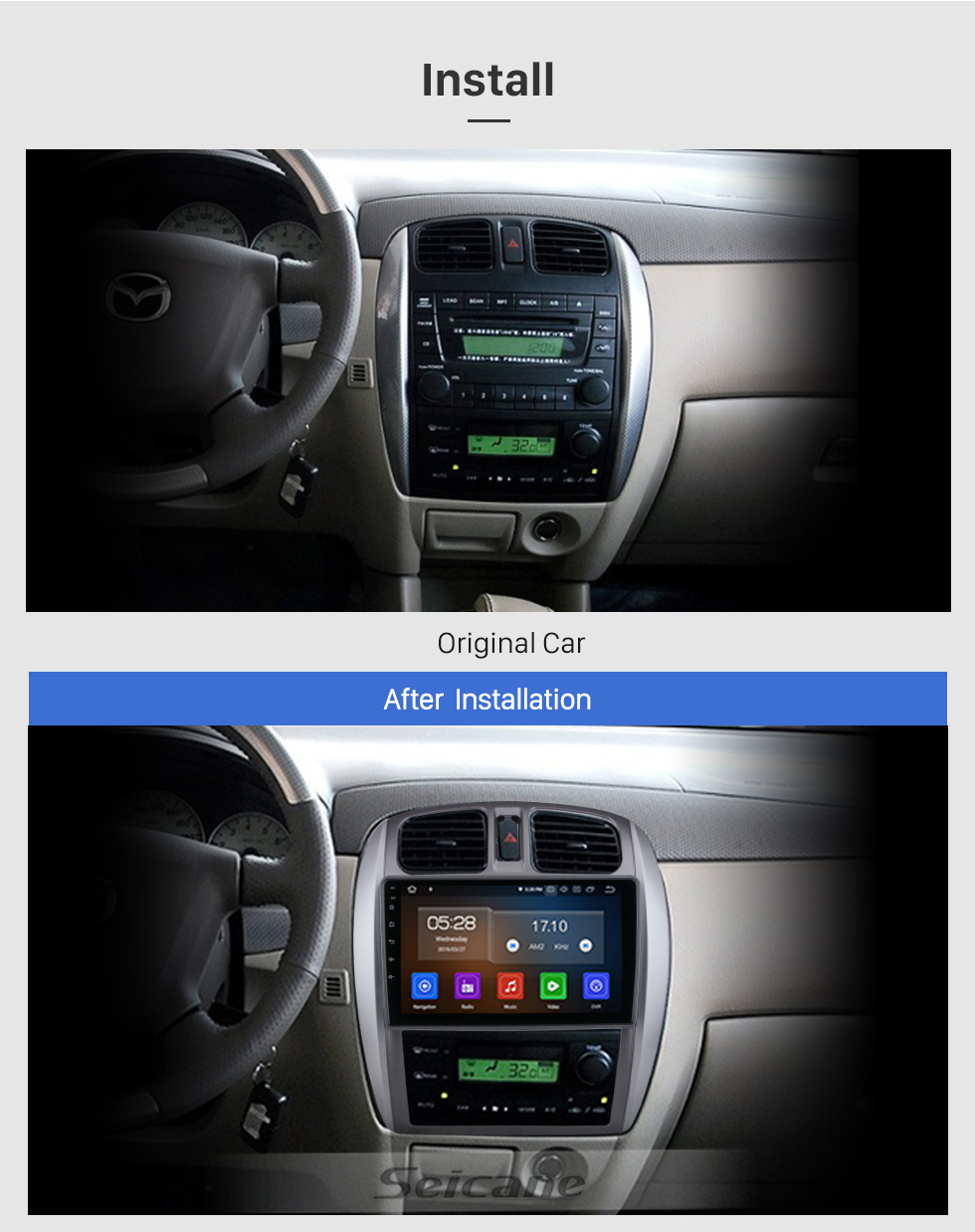 Seicane 9 inch Android 10.0 For 2002-2008 Mazda 323/09/FAW Haima Preema/Ford Laser Radio GPS Navigation System with HD Touchscreen Bluetooth Carplay support OBD2