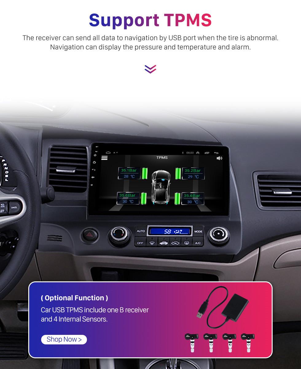 Seicane 10,1-дюймовый 1024 * 600 HD сенсорный экран Android 10.0 GPS-навигатор для 2006-2011 Honda Civic (LHD) с Bluetooth WIFI OBD2 USB Audio Aux 1080P Камера заднего вида