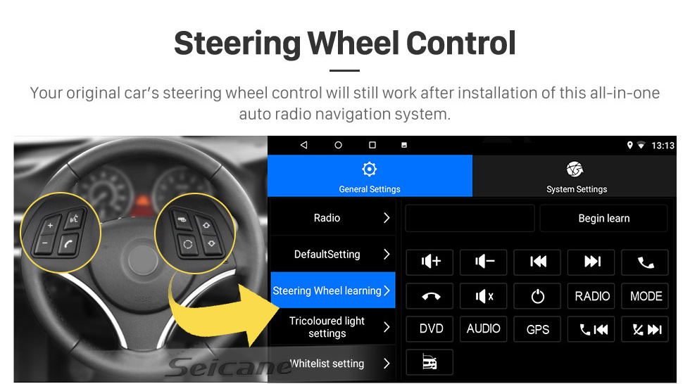 Seicane 2005 Ford Fiesta Form Android 10.0 Aftermarket Radio GPS navigation system  with DVD player  Bluetooth  HD 1024*600 touch screen OBD2 DVR Rearview camera TV 1080P Video 4G WIFI  Steering Wheel Control USB Mirror link