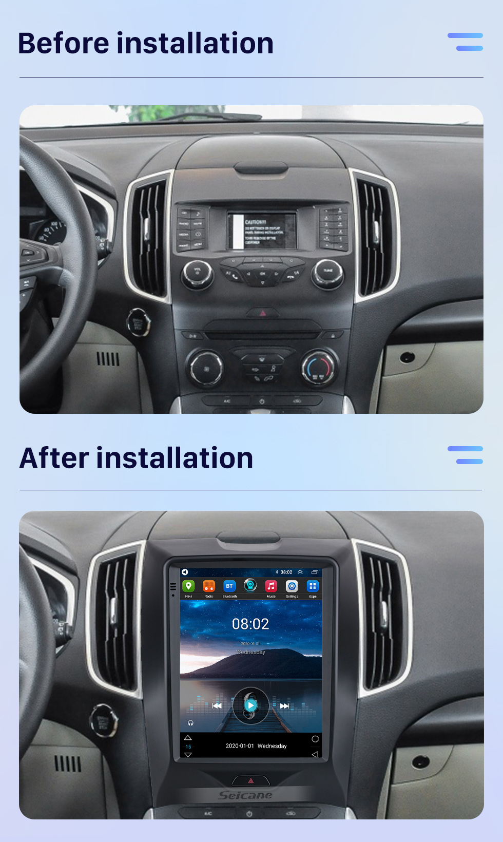 Seicane 2015-2018 Ford Edge 9.7 inch Android 10.0 GPS Navigation Radio with HD Touchscreen Bluetooth support Carplay Rear camera