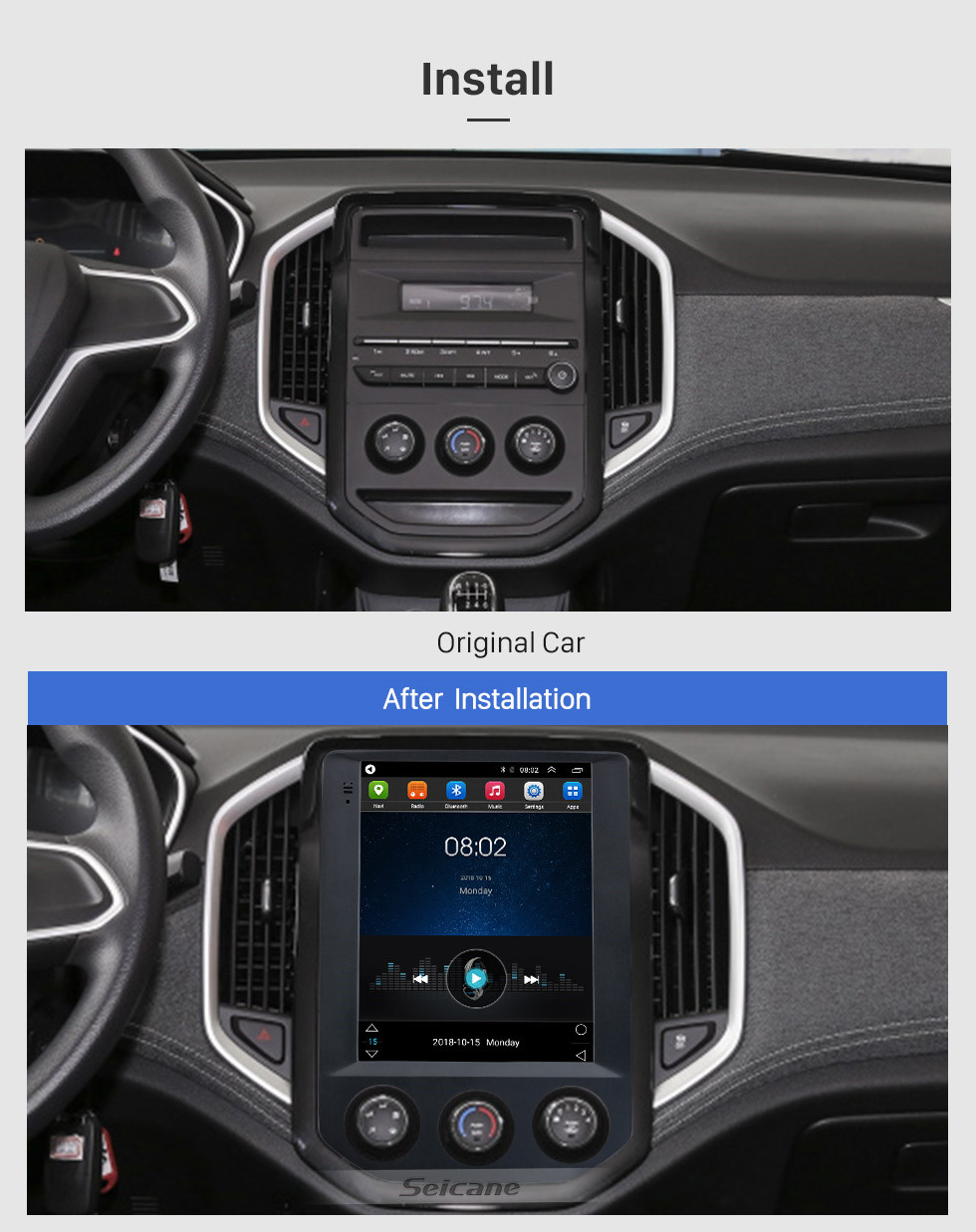 Seicane 2020 SGMW BaoJun 530 9.7 inch Android 9.1 GPS Navigation Radio with HD Touchscreen Bluetooth WIFI AUX support Carplay Rearview camera