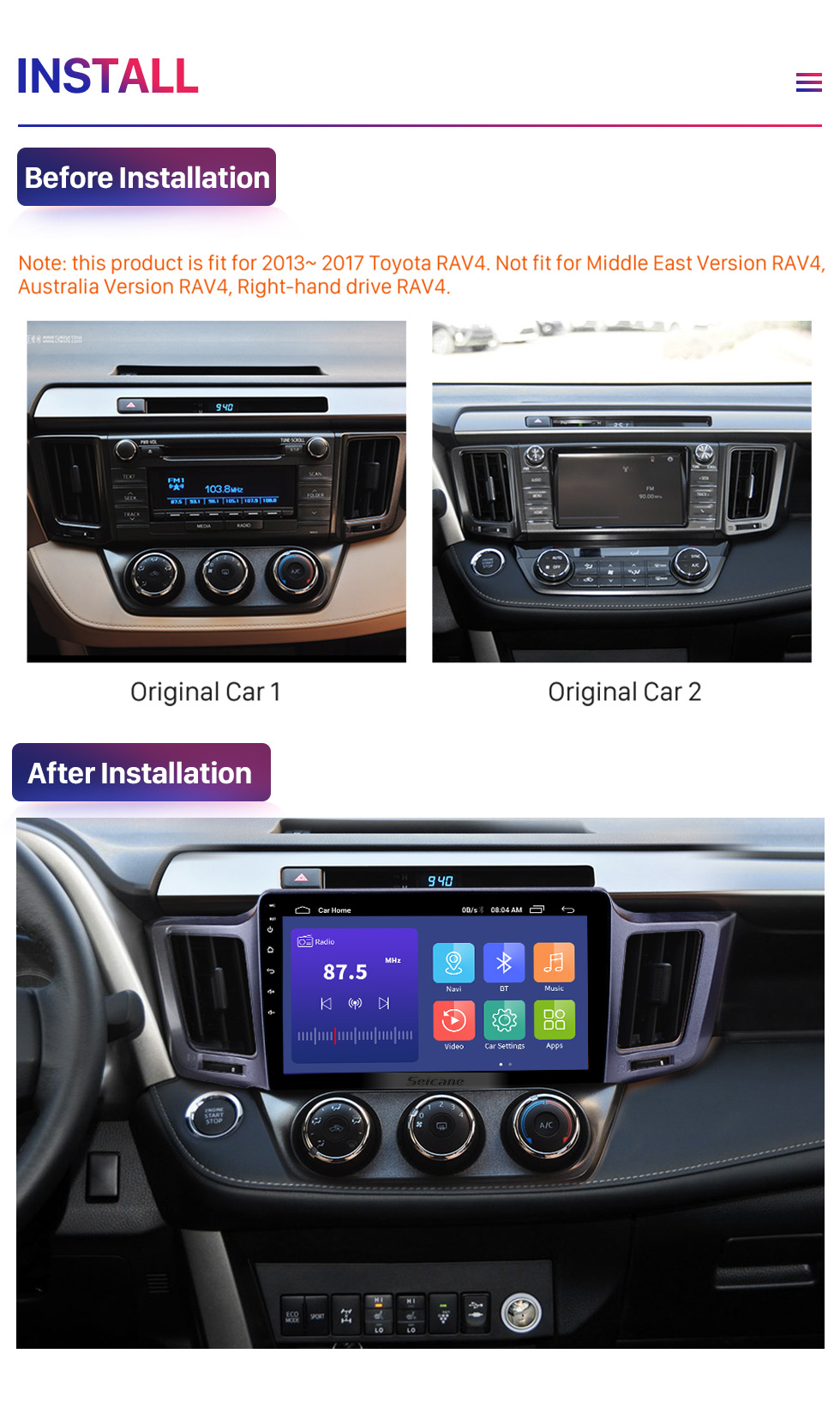 Seicane 2013-2016 Toyota RAV4 10.1 inch Android 10.0 GPS Sat Nav In Car with Touch Screen 3G WiFi AM FM Radio Bluetooth Music USB support OBD2 DVR TPMS
