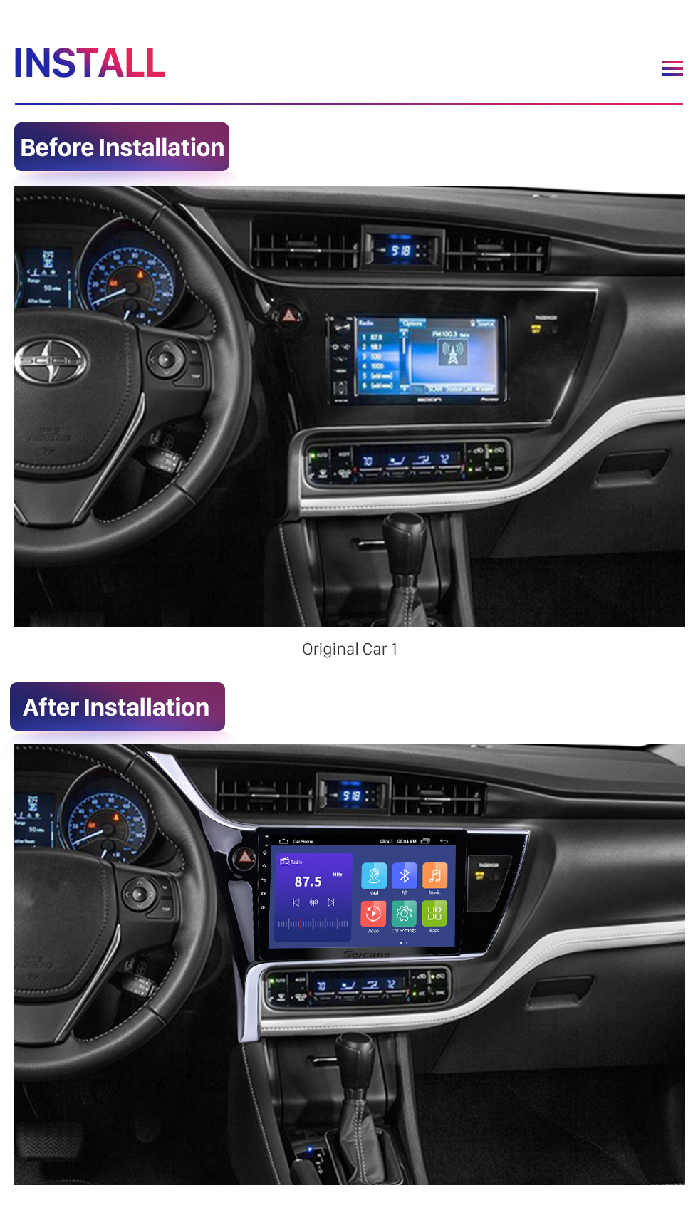 Seicane 2017 Toyota Corolla (LHD) left driving 10.1 inch Android 9.0 Radio GPS Navigation System Bluetooth HD 1024*600 Touch Screen WiFi Mirror Link