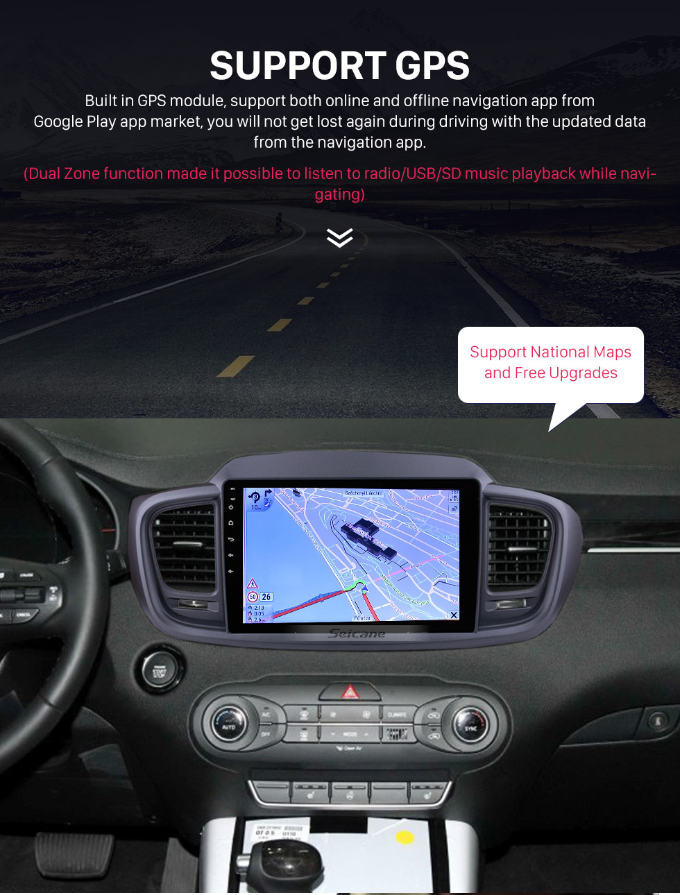 Seicane 10.1 inch Android 9.0 1024*600 Touch Screen Radio Car Multimedia Player For 2015 2016 KIA SORENTO (LHD) GPS Navigation upgrade Head unit with 3G WiFi Radio Bluetooth Music USB Mirror Link support DVR OBD2 Backup Camera Steering Wheel Control TPMS