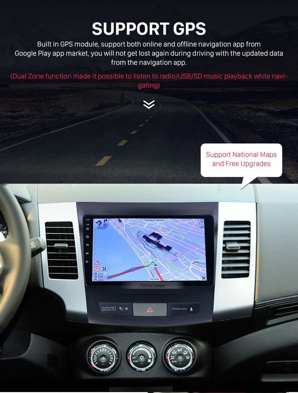 Seicane 2006-2014 MITSUBISHI Outlander 9 inch Touch Screen Android 9.0 Radio Bluetooth GPS Navigation system with WIFI support OBD2 DVR Backup camera TV USB Mirror link