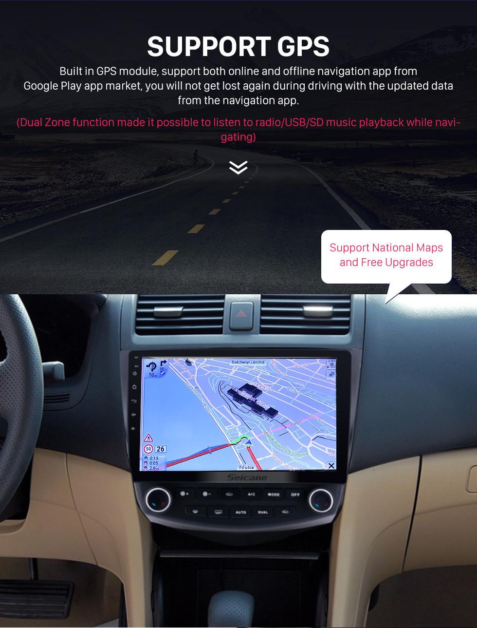 Seicane 10.1 pulgadas Android 9.0 HD 1024 * 600 Pantalla táctil Radio de coche para 2003 2004 2005 2006 2007 Honda Accord 7 Navegación GPS Bluetooth Música WIFI USB Mirror Link Unidad principal Soporte DVR OBD2 Control del volante Cámara de respaldo