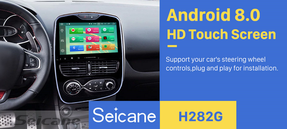 Seicane 10.1 Inch 2012-2018 Renault Clio Digital/Analog Auto air condition Android 8.0 HD Touchscreen Radio GPS Navigation System Support Car Stereo Bluetooth 3G/4G WIFI OBDII Video Steering Wheel Control Rearview Camera