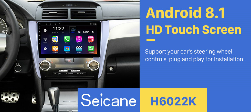 Seicane 10.1 inch Full Touchscreen 2015 Toyota CAMRY Android 8.1 GPS Navigation System With Radio Rearview Camera 3G WiFi Bluetooth Mirror Link OBD2 DVR Steering wheel control