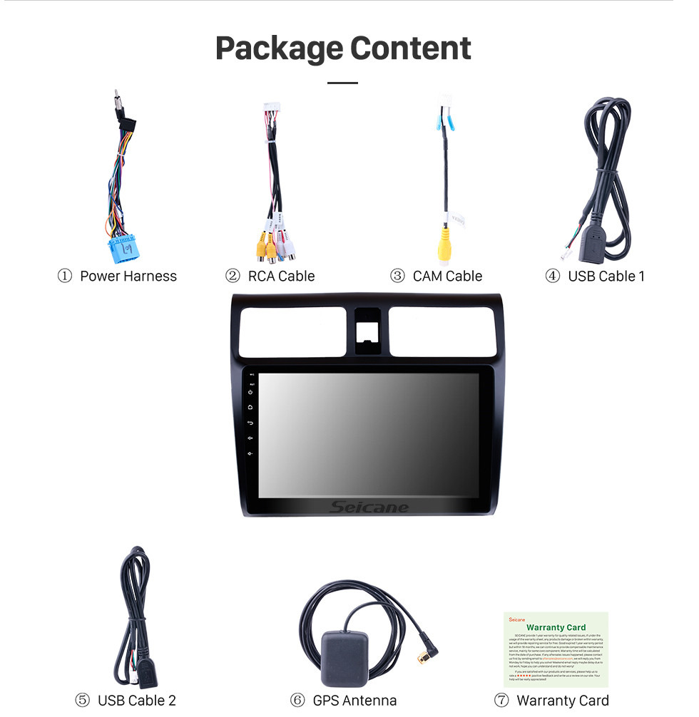 Seicane 10,1 Zoll 2005-2010 Suzuki Swift Android 8.1 HD-Touchscreen GPS-Navigation Radio Digital TV Spiegel Link 3G / 4G Wifi Bluetooth Musik Lenkradsteuerung