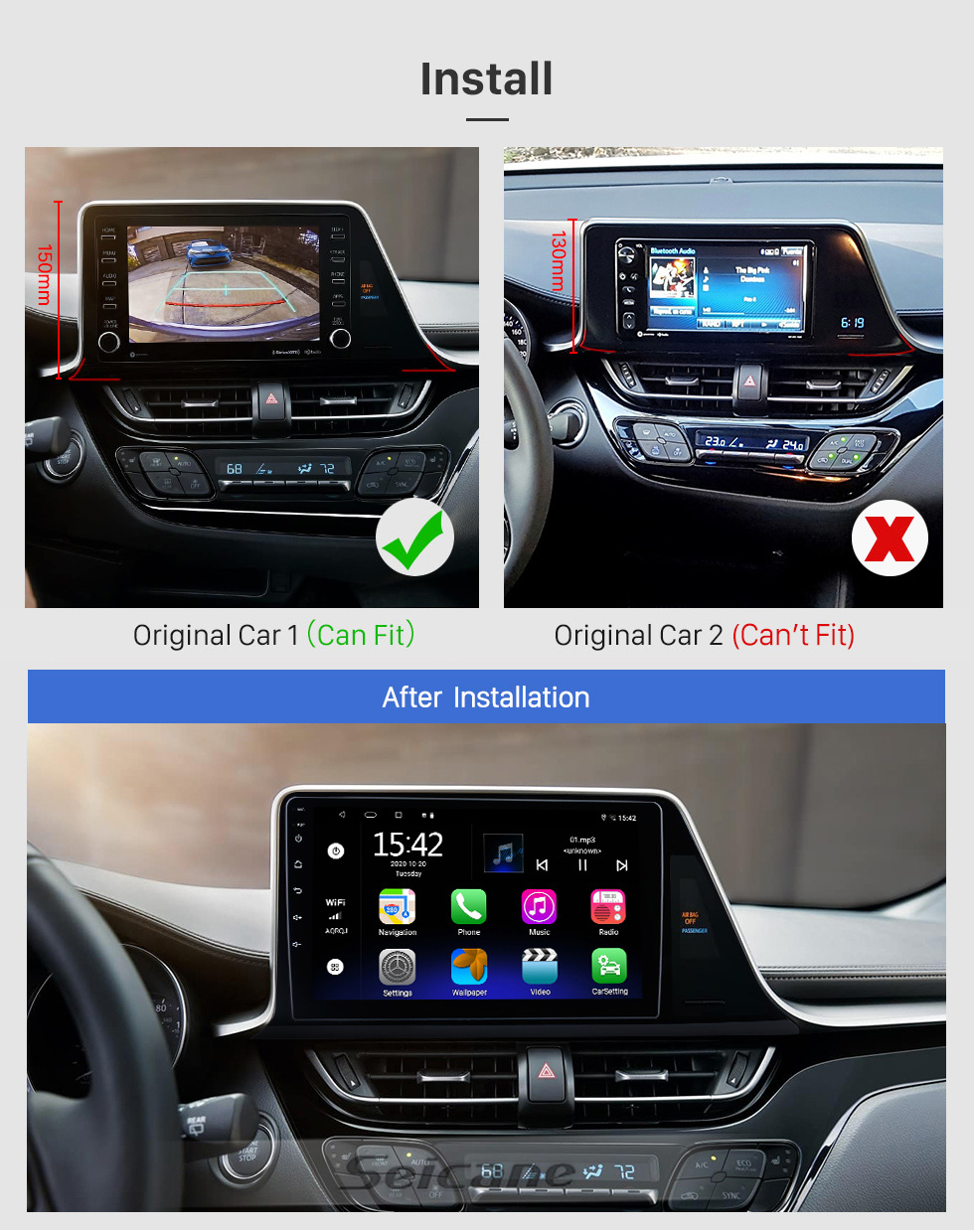 Seicane 9 inch Android 8.1 HD Touch Screen GPS Navigation Radio For 2016-2018 Toyota C-HR LHD Bluetooth 3G Wifi Digital TV Rearview Camera DVR OBD II