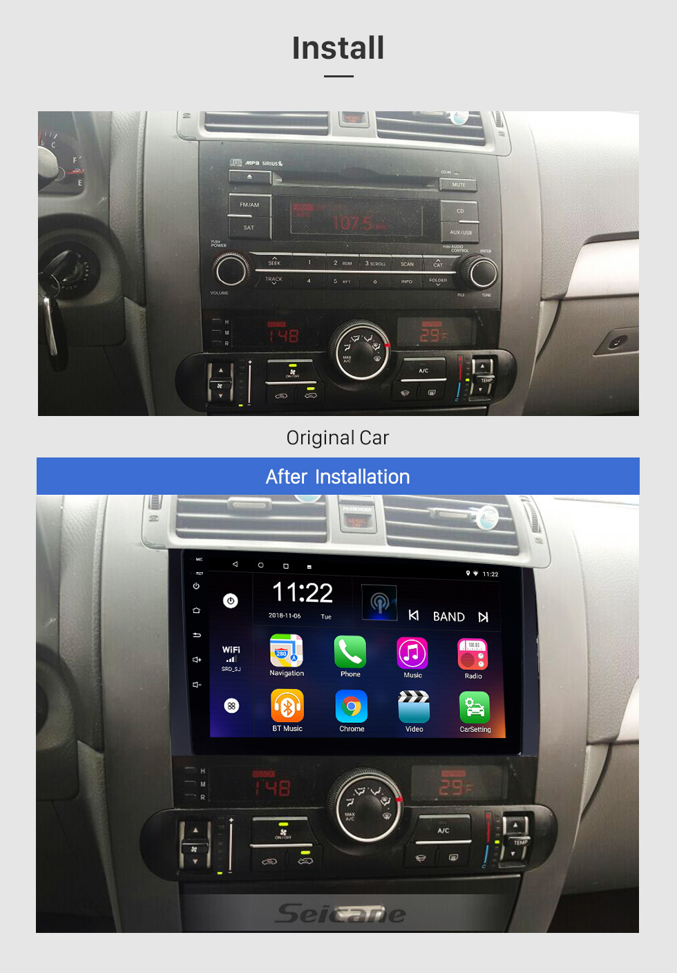 Seicane 9 Inch Android 8.1 Touch Screen radio Bluetooth GPS Navigation system For 2008-2016 KIA Borrego with TPMS DVR OBD II USB 3G WiFi Rear camera Steering Wheel Control HD 1080P Video AUX
