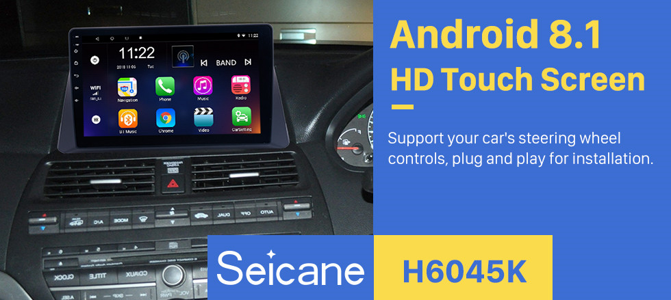 Seicane 10.1 inch 2008 2009 2010 2011 2012 Honda accord 8 Android 8.1 Radio GPS Navigation Bluetooth Music WIFI USB Mirror Link Car Stereo Support DVR OBD2 Steering Wheel Control Backup Camera